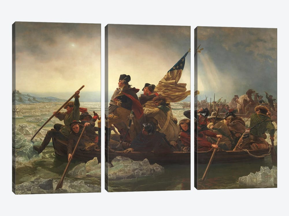 Painting Of George Washington Crossing The Delaware by John Parrot 3-piece Canvas Art