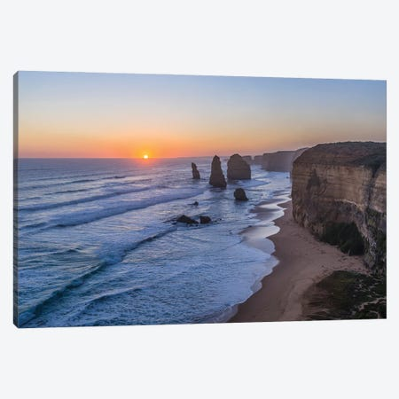 The Setting Sun At The Twelve Apostles Sea Stacks And Cliffs On The Great Ocean Road. Canvas Print #TRK3245} by Alan Dyer Canvas Art