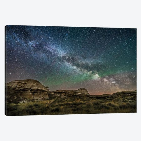The Summer Milky Way Rising Above Dinosaur Provincial Park, Alberta, Canada. Canvas Print #TRK3256} by Alan Dyer Canvas Print