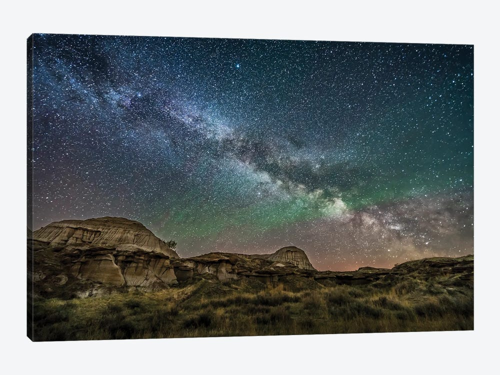 The Summer Milky Way Rising Above Dinosaur Provincial Park, Alberta, Canada. by Alan Dyer 1-piece Canvas Art Print