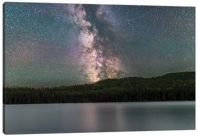The Summer Southern Milky Way Over Reesor Lake, Alberta, Canada. Canvas Art Print