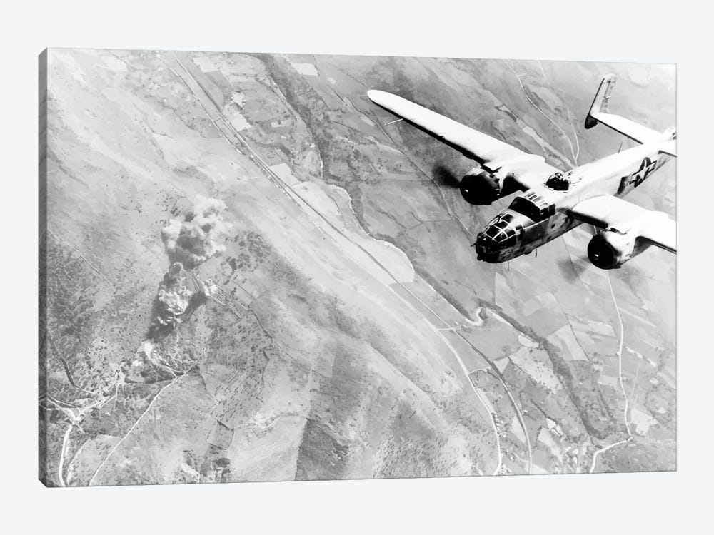 Photo Of A B-25 Bomber During WWII by John Parrot 1-piece Canvas Wall Art