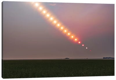 The Sun Setting Into A Pall Of Forest Fire Smoke Over Alberta, Canada. Canvas Art Print