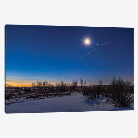 The Waning Crescent Moon Shining Above The Pairing Of Mars, Jupiter And A Streaking Space Station. Canvas Print #TRK3271} by Alan Dyer Canvas Artwork