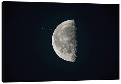 The Waning Gibbous Moon Approaches The Star Aldebaran. Canvas Art Print