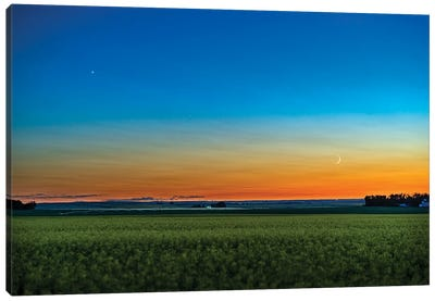 The Waxing Crescent Moon Below Venus As They Set In The Over A Ripening Canola Field. Canvas Art Print