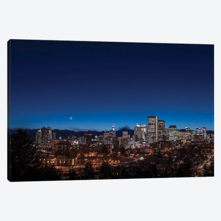 The Waxing Crescent Moon Over The Skyline Of Calgary, Canada. Canvas Print #TRK3276} by Alan Dyer Canvas Art Print