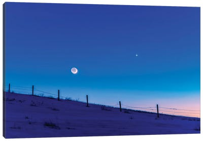 The Waxing Crescent Moon, With The Darkside Lit By Earthshine, Alberta, Canada. Canvas Art Print