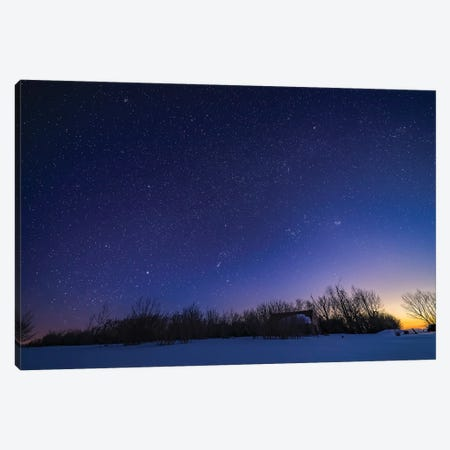 The Winter Sky With Orion Setting Into The West In The Evening Twilight, Alberta, Canada. Canvas Print #TRK3281} by Alan Dyer Art Print