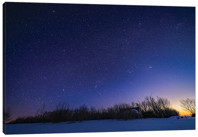 The Winter Sky With Orion Setting Into The West In The Evening Twilight, Alberta, Canada. Canvas Art Print