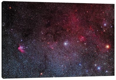 The Wizard Nebula And Other Faint Nebulae In Southern Cepheus. Canvas Art Print