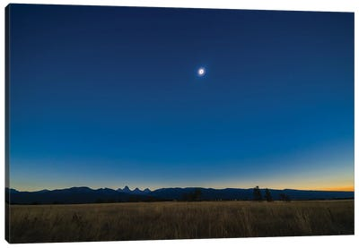 Total Solar Eclipse Over The Grand Tetons In Idaho. Canvas Art Print