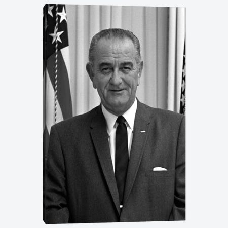 Photo Of President Lyndon B. Johnson I Canvas Print #TRK328} by John Parrot Canvas Art