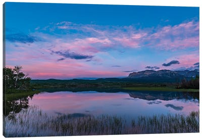 Twilight At Maskinonge Lake In Waterton Lakes National Park, Canada. Canvas Art Print