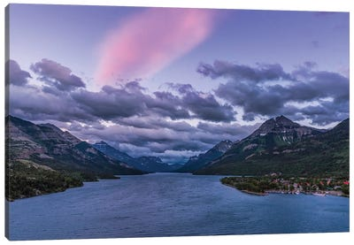 Twilight Clouds Over Waterton Lake, Canada. Canvas Art Print