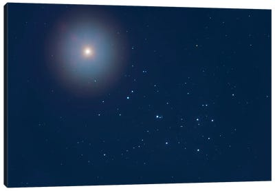 Venus Above The Pleiades Star Cluster, M45, In The Twilight And Moonlight. Canvas Art Print