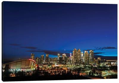Venus And Stars Setting Over The Skyline Of Calgary, Canada. Canvas Art Print