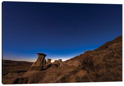 Venus Low In The Twilight Sky Above Hoodoos In The Red Deer River Valley, Alberta, Canada. Canvas Art Print