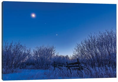 Venus, Mars And The Moon Over A Frosty Fence. Canvas Art Print