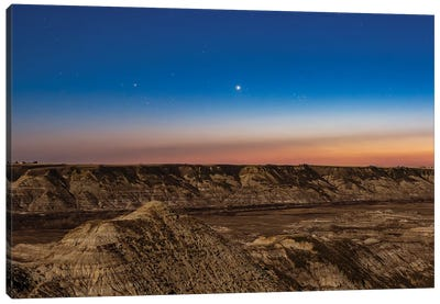 Venus, Pleiades And Hyades In The Evening Twilight Above Red Deer River Valley, Alberta, Canada. Canvas Art Print