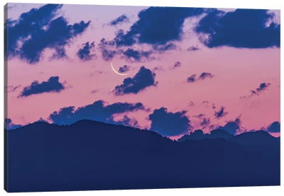 Waning Crescent Moon At Dawn Over The Grand Tetons In Wyoming. Canvas Art Print