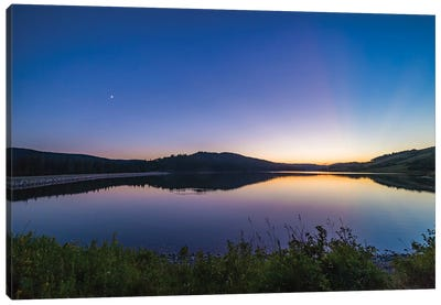 Waxing Moon And Crepuscular Rays At Reesor Lake, Alberta, Canada. Canvas Art Print