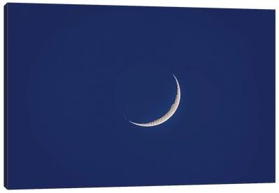 Waxing Moon With Earthshine In Twilight. Canvas Art Print