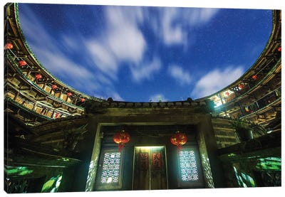 A Cloudy Night At Fujian Tulou, A World Heritage Site In The Fujian Province Of China. Canvas Art Print