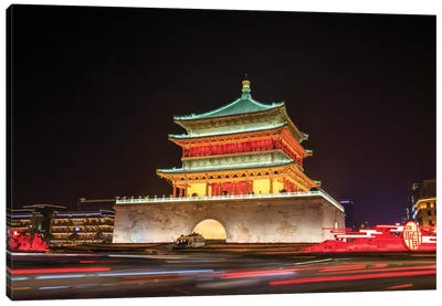 A Night View Of Gulou Tower In Xian, China. Canvas Art Print