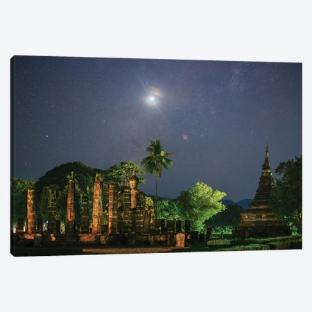 A Nova In Sagittarius Above The Ancient Wat Mahathat In Sukothai, Thailand. Canvas Print #TRK3308} by Jeff Dai Canvas Artwork