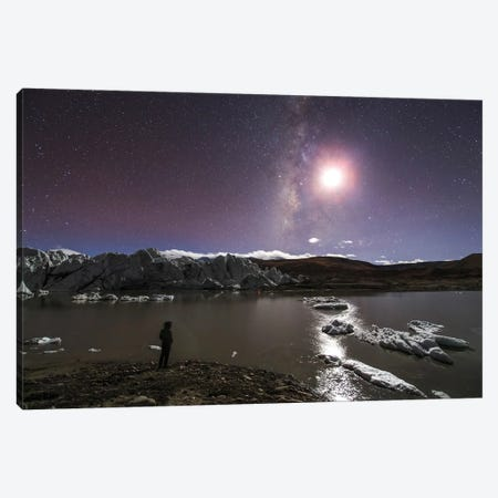 A Panorama View Of Milky Way And Moon Shine Above A Glacier In The Himalayas Of Tibet. Canvas Print #TRK3309} by Jeff Dai Canvas Wall Art