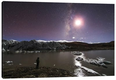 A Panorama View Of Milky Way And Moon Shine Above A Glacier In The Himalayas Of Tibet. Canvas Art Print