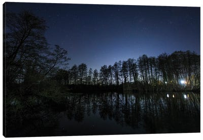 A Starry Night On The Countryside In Wolfsberg, Germany. Canvas Art Print