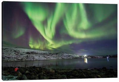 Aurora Borealis Dances Above The Arctic Ocean From Teriberka, Murmansk, Russia. Canvas Art Print
