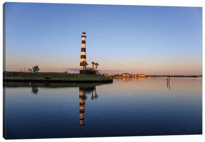 Full Moon Setting Above A Lake In Houston, Texas, Usa. Canvas Art Print