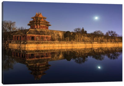Moonset Above The Jiaolou Tower In Forbidden City Of Beijing, China. Canvas Art Print