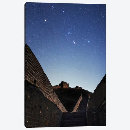 Orion Rises Above The Great Wall In Jinshanling Region, Hebei, China. Canvas Print #TRK3332} by Jeff Dai Art Print