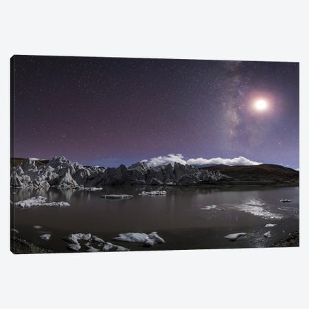 Panorama View Of Milky Way And Moon Shine Above A Glacier In The Himalayas Of Tibet Canvas Print #TRK3333} by Jeff Dai Art Print
