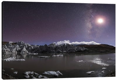 Panorama View Of Milky Way And Moon Shine Above A Glacier In The Himalayas Of Tibet Canvas Art Print