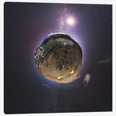 Planet Earth And Moon In The Milky Way Galaxy. Canvas Print #TRK3334} by Jeff Dai Canvas Art