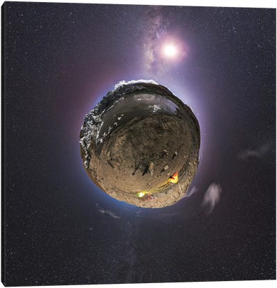 Planet Earth And Moon In The Milky Way Galaxy. Canvas Art Print