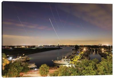 Star Trails Above A Lake In Houston, Texas, Usa. Canvas Art Print