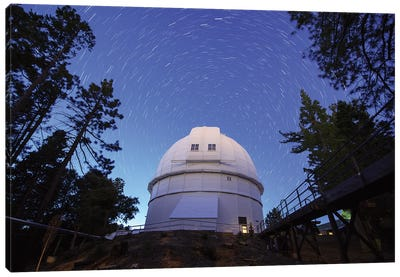 Star Trails Above Hooker Telescope At Mount Wilson Observatory, California, Usa. Canvas Art Print