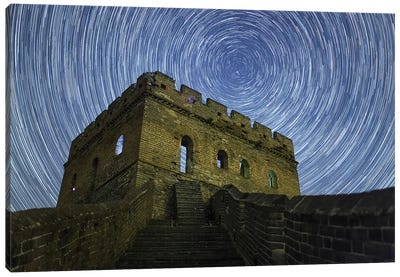 Star Trails Around The Northern Celestial Pole At The Great Wall In Jinshanling Region, Hebei, China. Canvas Art Print