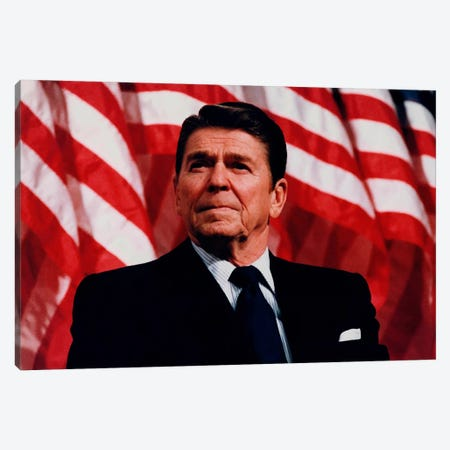 Photo Of President Ronald Reagan In Front Of American Flag Canvas Print #TRK333} by John Parrot Canvas Art Print