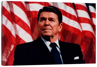 Photo Of President Ronald Reagan In Front Of American Flag Canvas Art Print