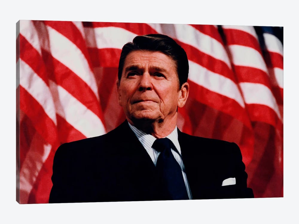 Photo Of President Ronald Reagan In Front Of American Flag by John Parrot 1-piece Canvas Art Print