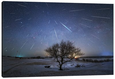 The Annual Geminid Meteor Shower Is Raining Down On Planet Earth, China. Canvas Art Print