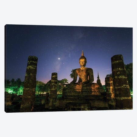 The Milky Way And Venus Shine In The Evening Twilight Above A Buddha In Sukhothai, Thailand. Canvas Print #TRK3352} by Jeff Dai Art Print