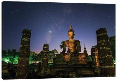 The Milky Way And Venus Shine In The Evening Twilight Above A Buddha In Sukhothai, Thailand. Canvas Art Print